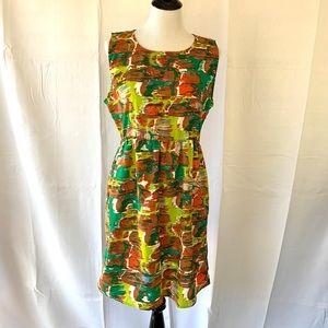 Tulle Brown & Green Sleeveless Dress Large